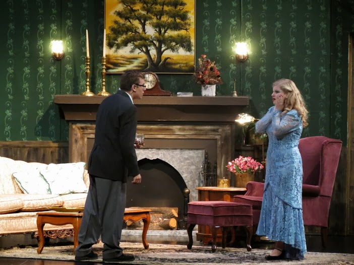 Aubrey Trecek and Trevor Whittow during Saturday's performance of Blithe Spirit. The performers earned laughs from the audience on several occasions.