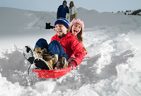 It is important for parents to teach their kids safety before sending them down a sledding hill.