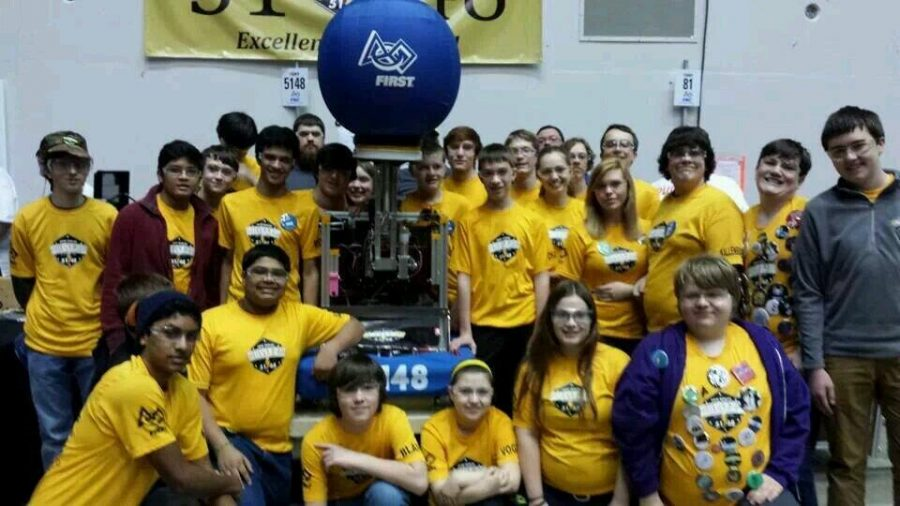 Team+5148+and+their+robot%2C+Cupcake%2C+after+winning+the+award+and+about+to+pack+up+to+leave+the+US+Cellular+Arena.