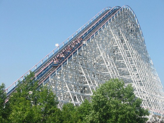 American Eagle at Six Flags Great American. This is a wooden rollercoaster.