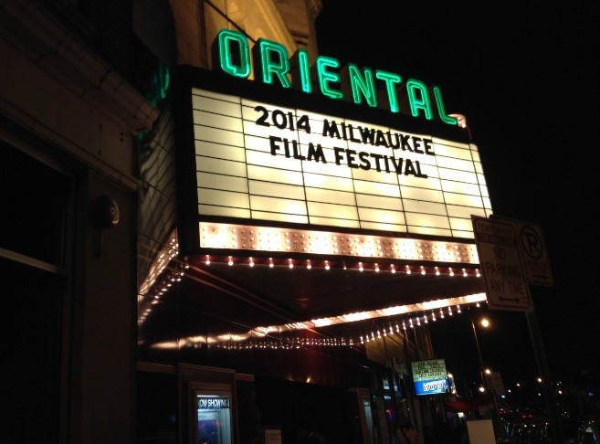 The Oriental, the main theater of the film festival, advertises the event on its billing. The theater showed feature presentations each day.