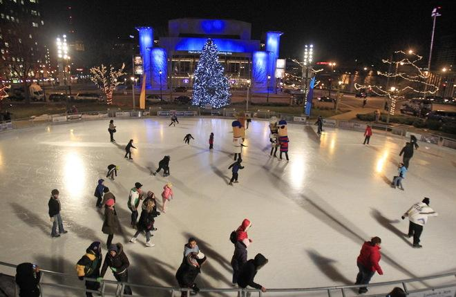 One of the many entertaining, winter activities available in Milwaukee is ice-skating at Red Arrow Park.