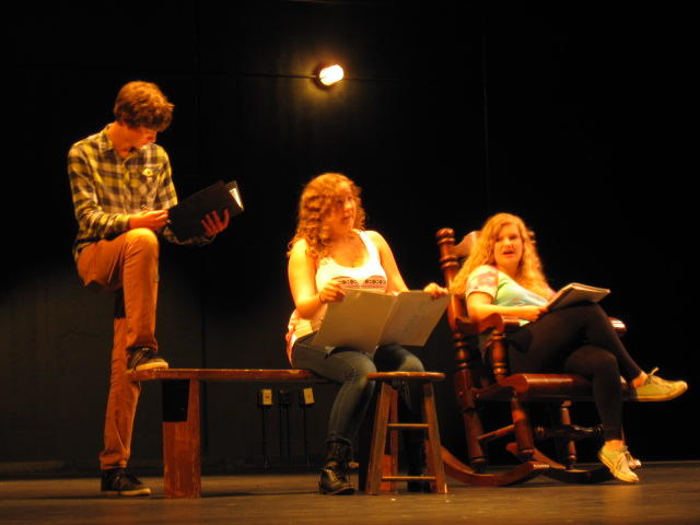 Leads (from left to right) Zach Karolek, Bailey Pietsch, and Aubrey Trecek pratice their lines for the musical Oklahoma!, opening on December 5th.